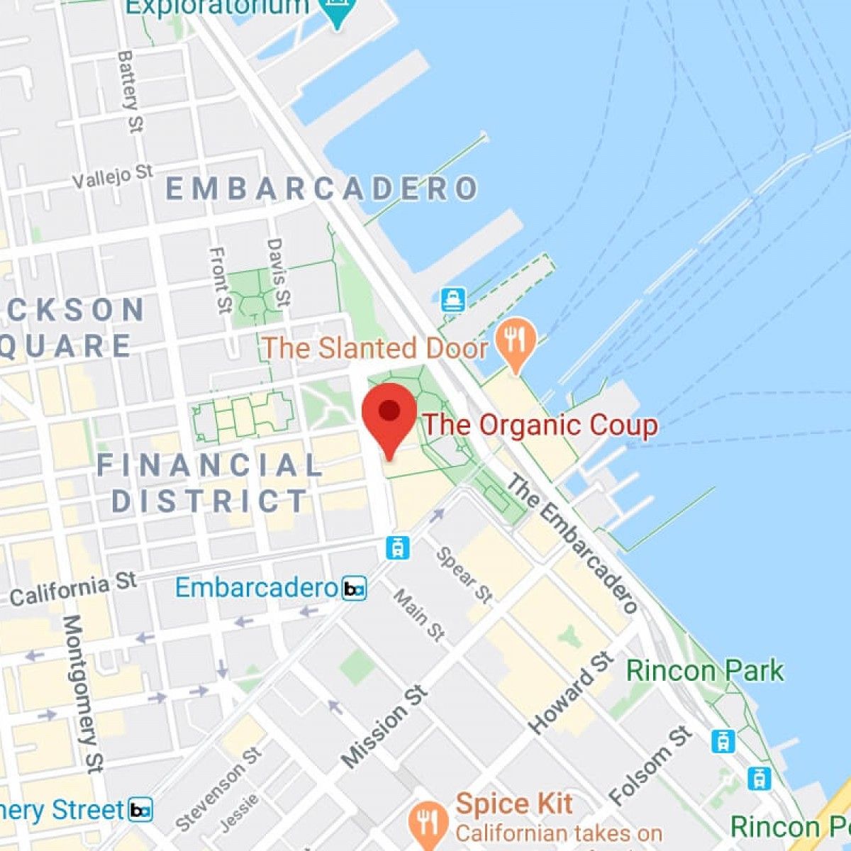 A map of The Organic Coup - Embarcadero