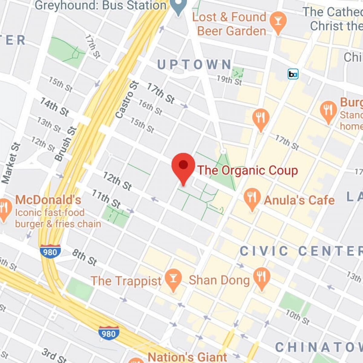 A map of The Organic Coup - Oakland